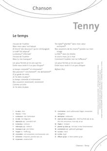 FrancoMusiques - Tenny - Le Temps - Arbeitsblatt - A2/B1