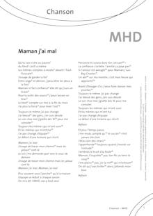 FrancoMusiques - MHD - Maman j'ai mal - Arbeitsblatt - A2–B1+