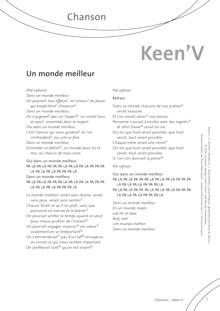 FrancoMusiques - Keen'v - Un monde meilleur - Arbeitsblatt - A2–B2
