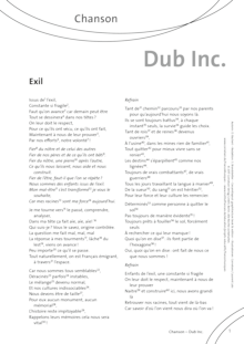 FrancoMusiques - Dub Inc. - Exil - Arbeitsblatt - B1/B2