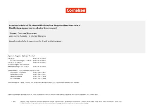 Texte, Themen und Strukturen - Synopse Texte, Themen und Strukturen, 2-jährige Oberstufe Gymnasium Mecklenburg-Vorpommern - Grundkurs - Planungshilfe - Webshop-Download