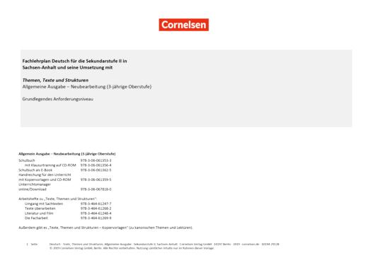 Texte, Themen und Strukturen - Planungshilfe für Sachsen-Anhalt - Grundkurs