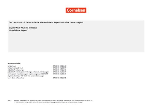 Doppel-Klick - Planungshilfe Doppel-Klick Mittelschule Bayern 7 für M-Klassen - Synopse - 7. Jahrgangsstufe
