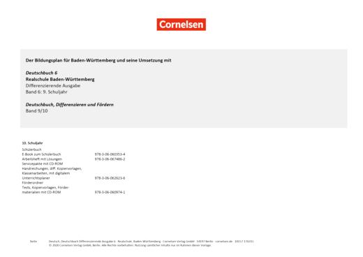 Deutschbuch - Der Einsatz von Deutschbuch Differenzierende Ausgabe Baden-Württemberg 6 und Deutschbuch Differenzieren und Fördern 9/10 - Synopse - Band 6: 10. Schuljahr