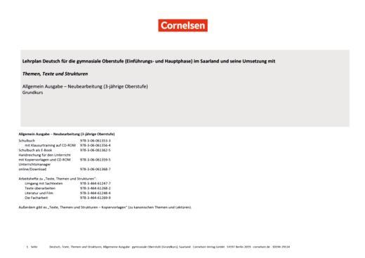 Texte, Themen und Strukturen - Synopse für Hauptphase - G-Kurs, Saarland