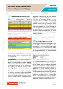 Die Karten werden neu gemischt. Vor den Landtagswahlen in Thüringen - Arbeitsblatt mit Lösungen