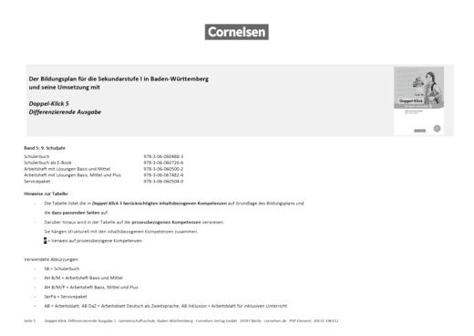 Doppel-Klick - Doppel-Klick Baden-Württemberg Differenzierende Ausgabe 5 / Kompetenzraster für Klasse 9 - Synopse - Band 5: 9. Schuljahr