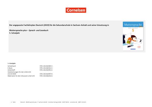 Muttersprache plus - Planungshilfe zum Fachlehrplan Sachsen-Anhalt (2019) - 5. Schuljahr