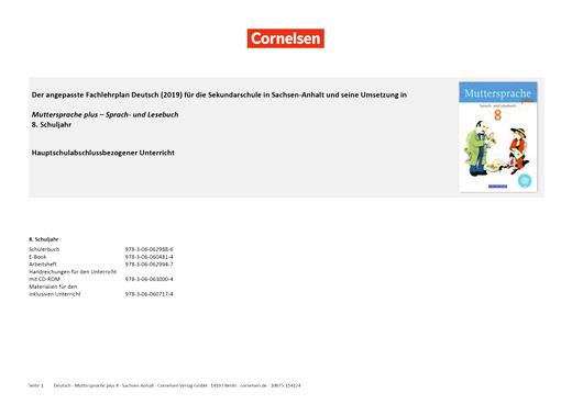 Muttersprache plus - Planungshilfe zum Fachlehrplan Deutsch Sachsen-Anhalt (2019) - 8. Schuljahr