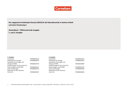 Deutschbuch - Deutschbuch Differenzierende Ausgabe 5/6 – Planungshilfe zum Fachlehrplan Deutsch Sachsen-Anhalt (2019) - Synopse - 5. Schuljahr