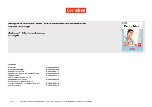 Deutschbuch - Planungshilfe für Sachsen-Anhalt (2019) - 9. Schuljahr