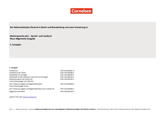 Muttersprache plus - Muttersprache plus Neue Allgemeine Ausgabe 5 – Planungshilfe zum Rahmenlehrplan Deutsch Berlin-Brandenburg - Synopse - 5. Schuljahr