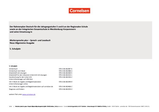 Muttersprache plus - Planungshilfe zum Rahmenplan Mecklenburg-Vorpommern - 5. Schuljahr