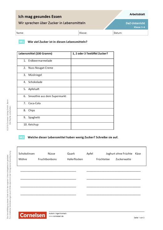DaZ/Deutsch: Ich mag gesundes Essen - Wir sprechen über Zucker in Lebensmitteln - Arbeitsblatt mit Lösungen - Webshop-Download
