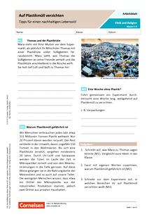 Auf Plastikmüll verzichten - Tipps für einen nachhaltigen Lebensstil - Arbeitsblatt mit Lösungen