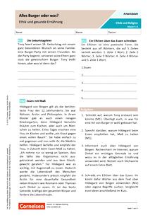 Alles Burger oder was? - Ethik und gesunde Ernährung - Arbeitsblatt mit Lösungen