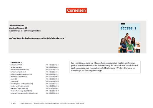 English G Access - Planungshilfe Fachanforderungen Englisch Gymnasium - Schleswig-Holstein - Band 1: 5. Schuljahr