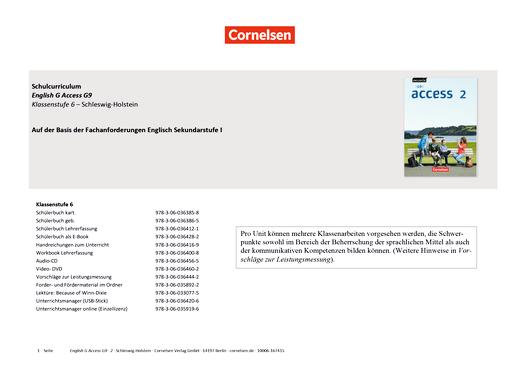 English G Access - Planungshilfe Fachanforderungen Englisch Gymnasium - Schleswig-Holstein - Band 2: 6. Schuljahr
