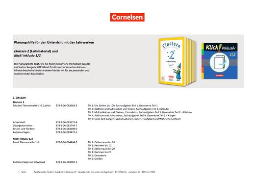 Einstern - Klick! inklusiv 1/2 Materialeinsatz für einen inklusiven Unterricht mit Einstern 2 (Themenhefte 1-5 Ausleihmaterial) - Synopse - Band 1/2