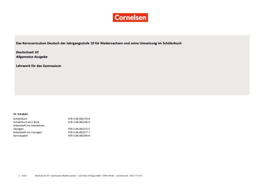Deutschzeit - Synopse Deutschzeit 10, Gymnasium Niedersachsen - Synopse - 10. Schuljahr
