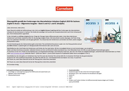 English G Access - Synopse Lehrplansynopse Sachsen – Lehrplan Englisch 2019 - Band 3/4: 7./8. Schuljahr