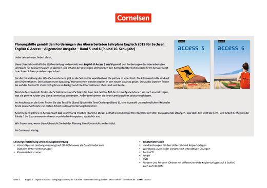 English G Access - English G Access 5 und 6 - Synopse Lehrplansynopse Sachsen – Lehrplan Englisch 2019 - Band 6: 10. Schuljahr