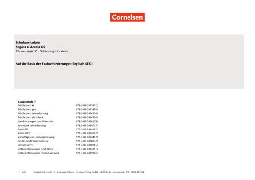 English G Access - Planungshilfe Fachanforderungen Englisch Gymnasium - Schleswig-Holstein - Band 3: 7. Schuljahr