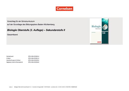 Biologie Oberstufe (3. Auflage) - Vorschlag für ein Schulcurriculum - Stoffverteilungsplan - Gesamtband