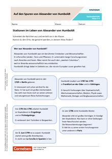 Auf den Spuren von Alexander von Humboldt - Arbeitsblatt