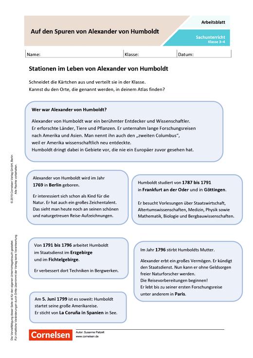 Auf den Spuren von Alexander von Humboldt - Arbeitsblatt mit Lösungen