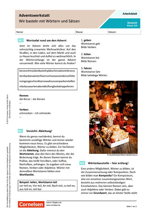 Adventswerkstatt - Wir basteln mit Wörtern und Sätzen - Arbeitsblatt