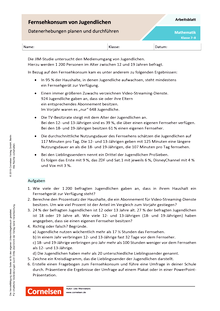 Fernsehkonsum von Jugendlichen - Datenerhebungen planen und durchführen - Arbeitsblatt mit Lösungen