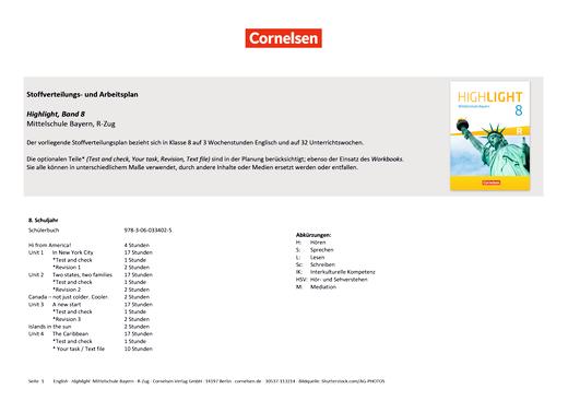 Highlight - Stoffverteilungsplan Highlight 8R, Bayern - Stoffverteilungsplan - Webshop-Download