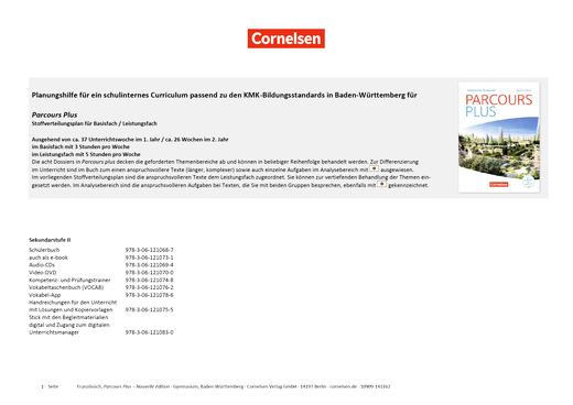 Parcours plus - Parcours plus - Planungshilfe für ein schulinternes Curriculum zu den KMK-Bildungsstandards in Baden-Württemberg - Stoffverteilungsplan