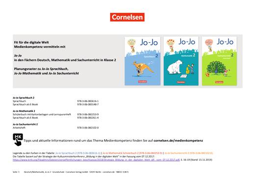 Jo-Jo Sprachbuch - Medienkompetenzen Jo-Jo Deutsch, Mathematik und Sachuntericht - Klasse 2 - Synopse - 2. Schuljahr