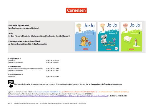 Jo-Jo Sprachbuch - Medienkompetenzen Jo-Jo Deutsch, Mathematik und Sachuntericht - Klasse 3 - Synopse - 3. Schuljahr