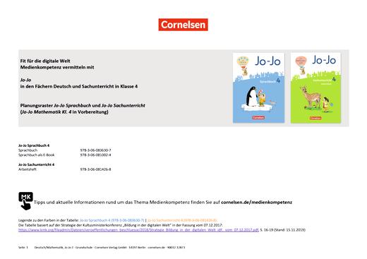 Jo-Jo Sprachbuch - Medienkompetenzen Jo-Jo Deutsch, Mathematik und Sachuntericht - Klasse 4 - Synopse - 4. Schuljahr