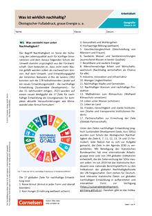 Was ist wirklich nachhaltig? - Ökologischer Fußabdruck, graue Energie u.a. - Arbeitsblatt mit Lösungen