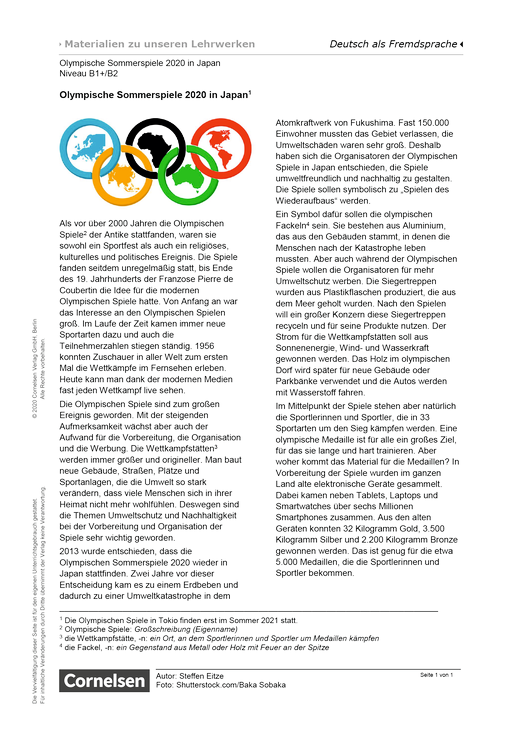 "Olympische Sommerspiele 2020 in Japan (B1+/B2)"" - Arbeitsblatt"