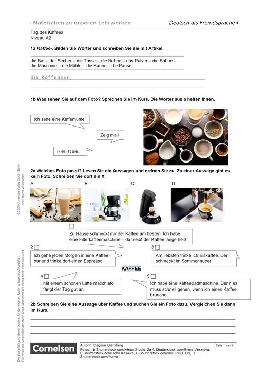 Tag des Kaffees (A2) - Arbeitsblatt