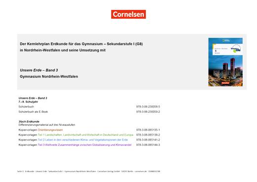 Unsere Erde - Unsere Erde Nordrhein-Westfalen Band 3 (9./10. Schuljahr): Planungshilfe Kernlehrplan Geographie G8-Gymnasium - Planungshilfe - Band 3