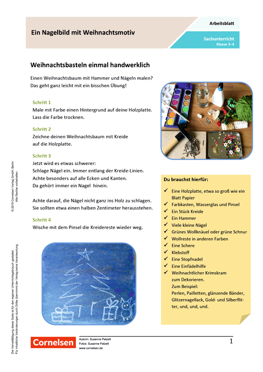 Ein Nagelbild mit Weihnachtsmotiv - Arbeitsblatt mit Lösungen