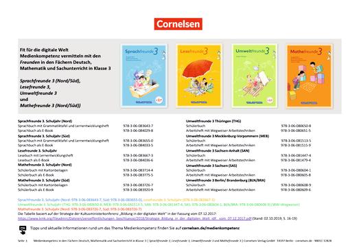 Lesefreunde - Planungsraster Medienkompetenz: Deutsch, Mathematik, Sachunterricht - 3. Klasse - Sprach-, Lese-, Mathe-, Umweltfreunde - Planungsraster - 3. Schuljahr