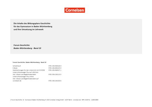 Forum Geschichte - Neue Ausgabe - Planungshilfe für einen Stoffverteilungsplan - 10. Schuljahr
