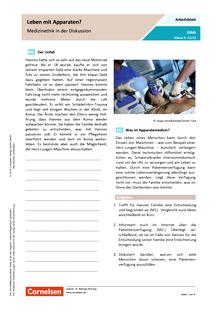 Leben mit der Maschine? Medizinethik in der Diskussion - Arbeitsblatt