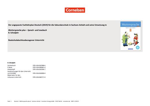 Muttersprache plus - Synopse für Sachsen-Anhalt - Realschulabschlussbezogener Unterricht - 8. Schuljahr
