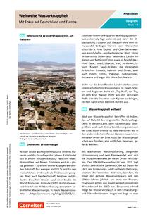 Weltweite Wasserknappheit - Mit Fokus auf Deutschland und Europa - Arbeitsblatt mit Lösungen