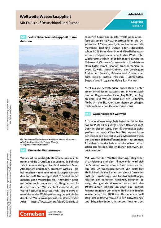 Weltweite Wasserknappheit - Mit Fokus auf Deutschland und Europa - Arbeitsblatt mit Lösungen - Webshop-Download