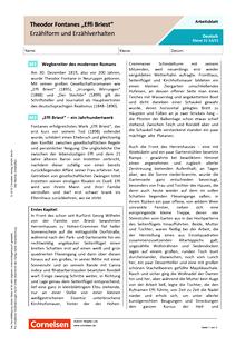 """Theodor Fontanes """"Effi Briest"""" - Erzählform und Erzählverhalten - Arbeitsblatt mit Lösungen"""