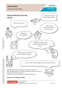 Gute Vorsätze: So plane ich meine Ziele - Arbeitsblatt